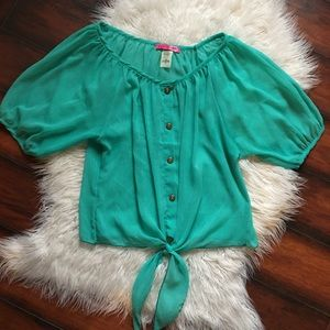 Body Central   Sheer Turquoise Blouse